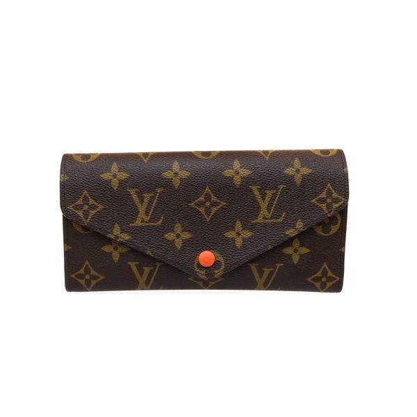 Portefeuille Vuitton monogramme LV et détails orange