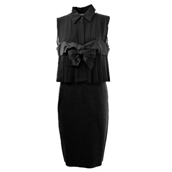 Robe Chanel couture noeud noire face