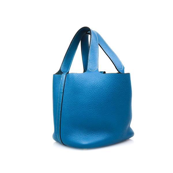 Sac Hermès Picotin bleu biais