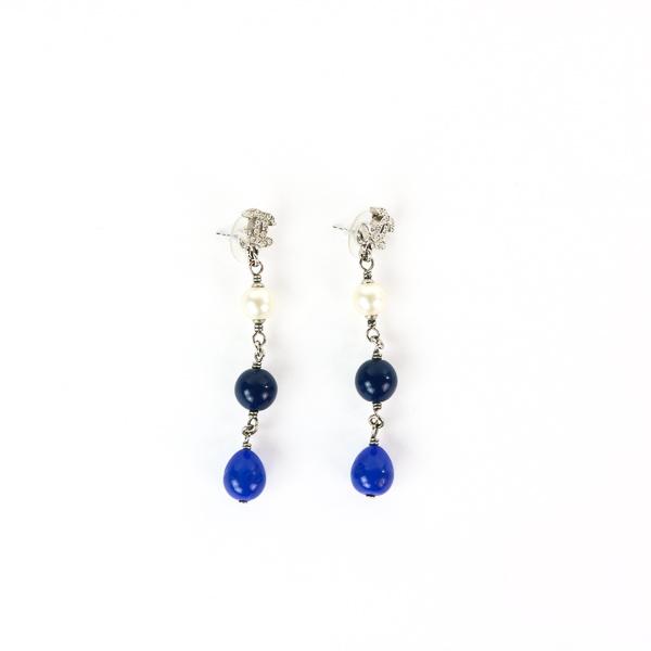 Boucles d'oreille clous Chanel pendant perles fantaisie nacre:bleu:bleu nuit