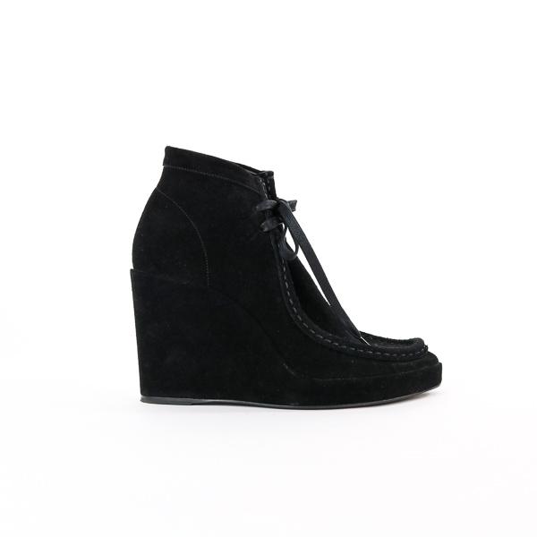 Chaussures compensées à lacet Balenciaga daim noir