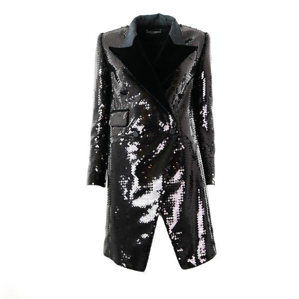 Veste longue redingote Dolce & Gabbana paillettes noires
