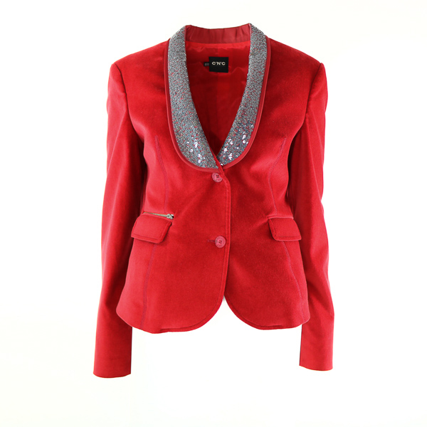 Veste velours Costume National rouge col smocking paillettes