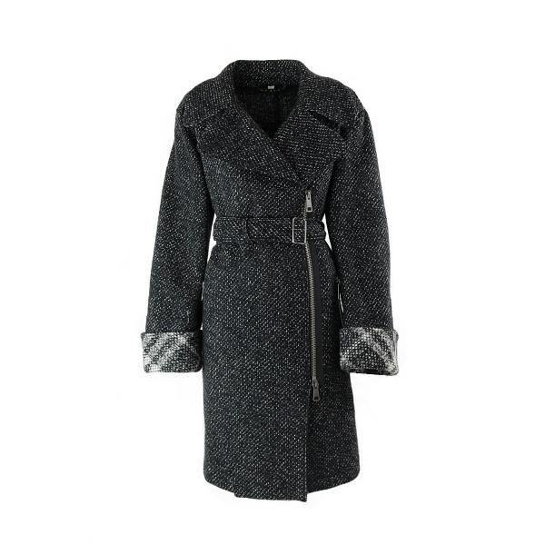 Manteau Burberry laine maille noir et blanc face