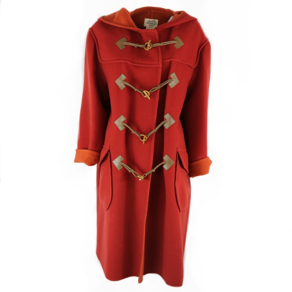 Manteau Duffle-coat hermès rouge intérieur orange