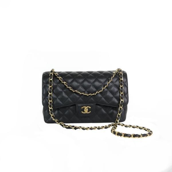 Sac Chanel timeless jumbo noir grainé chaine dorée