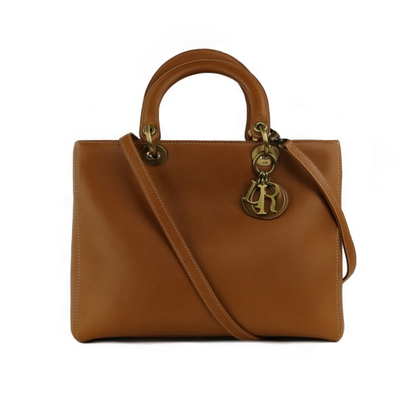 Sac Dior Lady Dior grand modèle cuir gold face