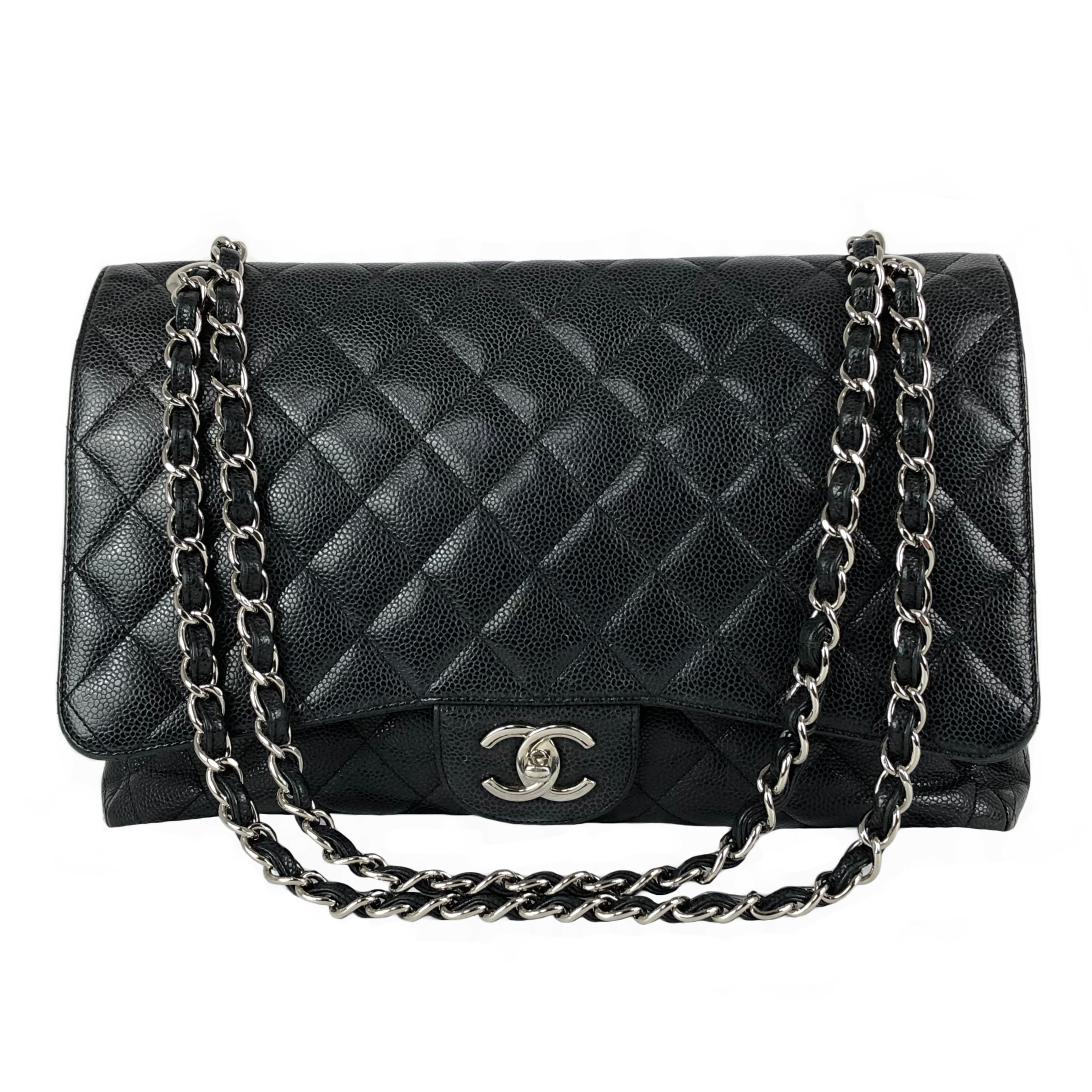 Sac Chanel Timeless cuir grainé gris anthracite face