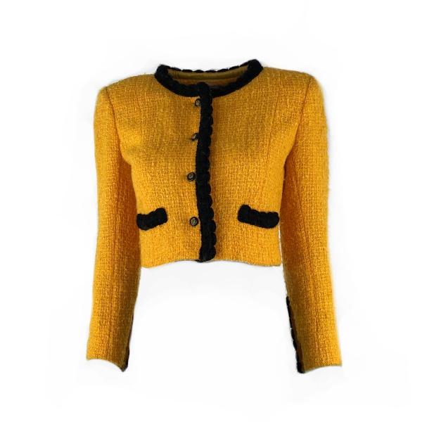 Veste courte Chanel jaune époque Coco