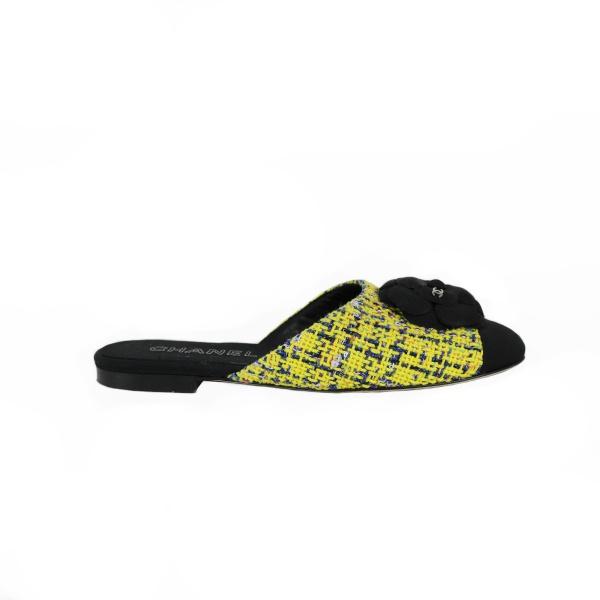 Chaussure Chanel tweed jaune et noir profil