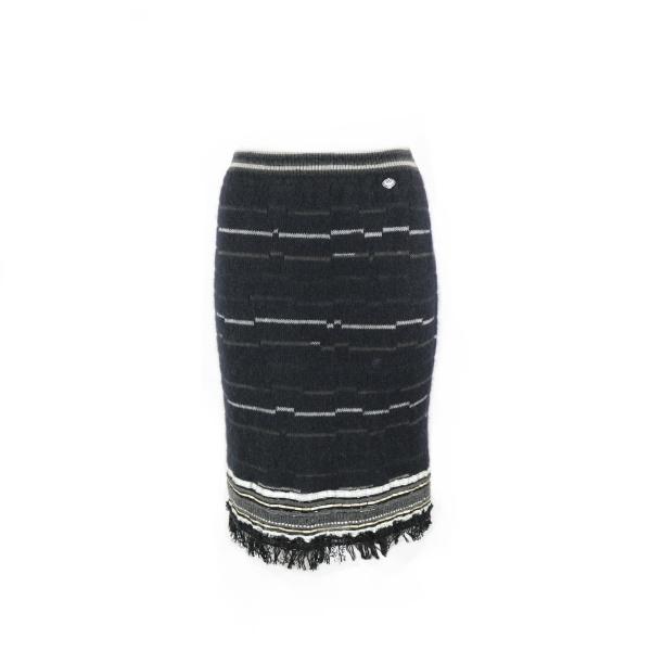 Jupe Chanel laine bleu marine rayé face
