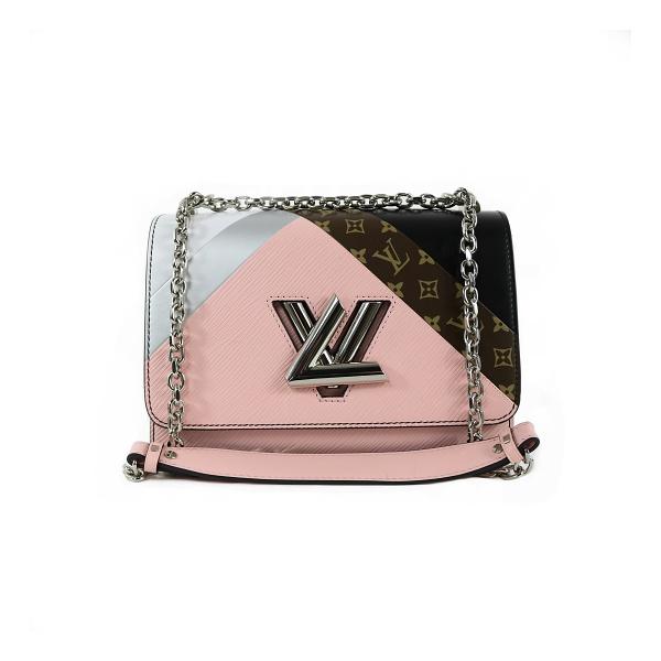 Sac Louis Vuitton Twist MM cuir rose et monograme face