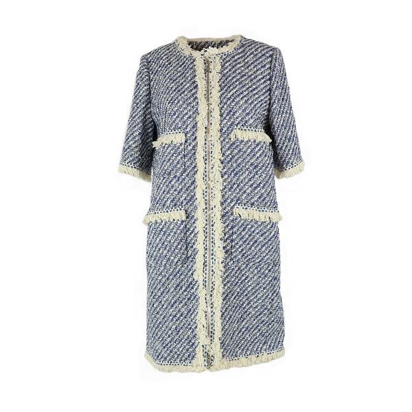 Manteau Louis Vuitton bleu et blanc tweed manche trois quart face