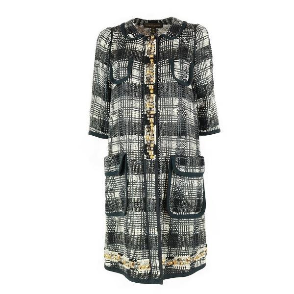 Manteau Louis Vuitton maille noir et blanc et perles face