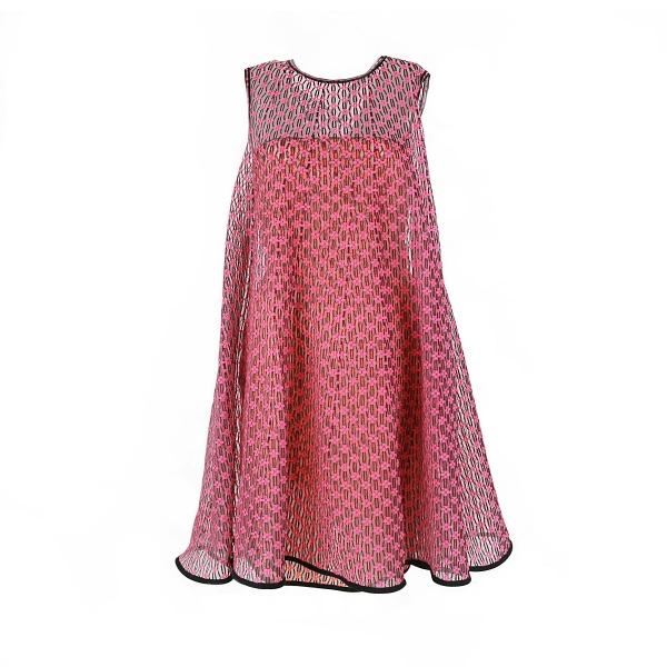 Robe Dior voilage détail fleur rose et orange