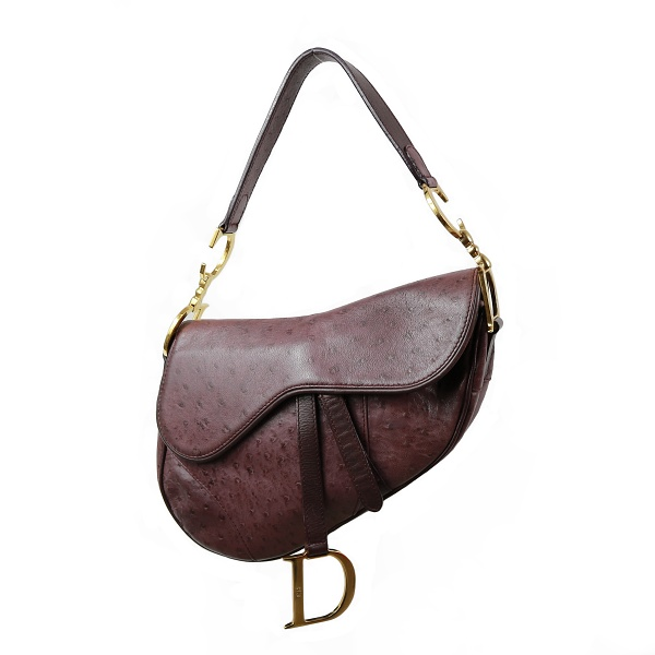 Sac Dior Saddle cuir d'autruche bordeau face