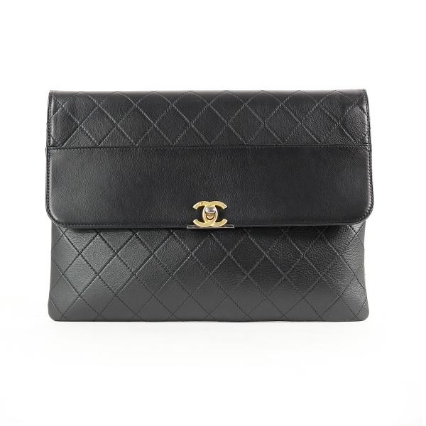 Pochette Chanel cuir noir face