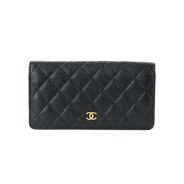 Portefeuille Chanel cuir grainé noir face