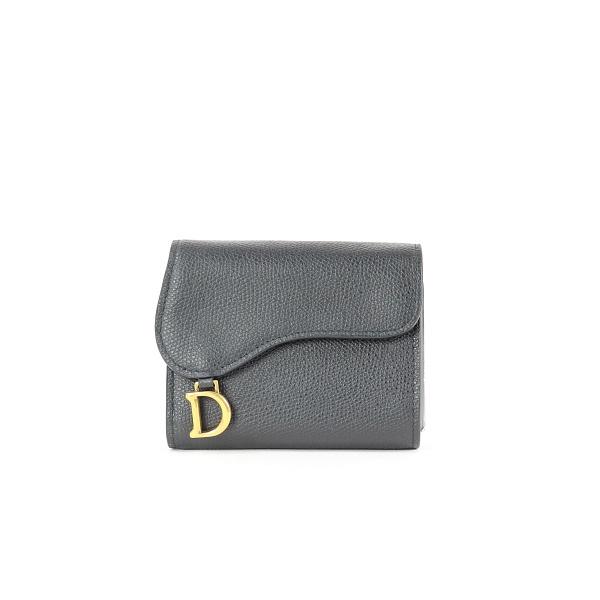 Portemonnaie Dior cuir noir face