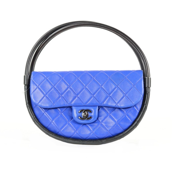 Sac Chanel Hula Hoop cuir turquoise face