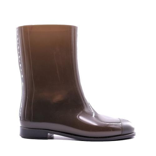 Bottes de pluie Chanel kaki côté