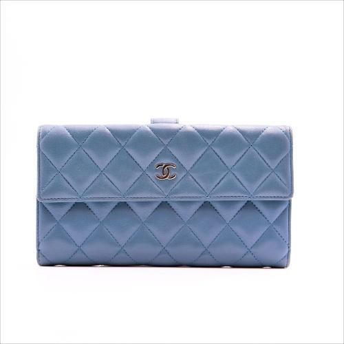 Portefeuille Chanel cuir bleu face