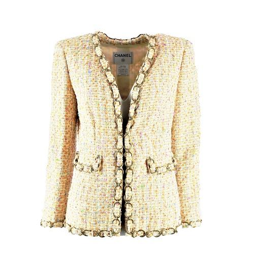 Veste Chanel tweed orange:multicouleurs détail chaine face