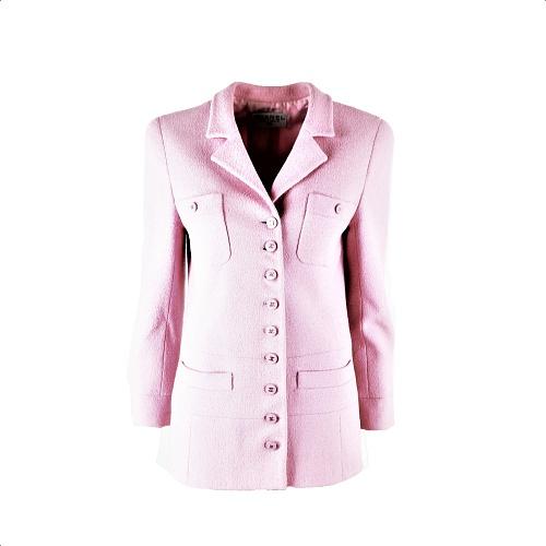 Veste Chanel tweed rose boutons CC face