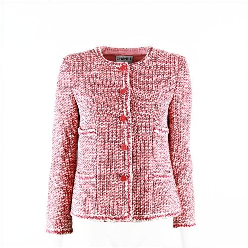 Veste Chanel tweed rouge et blanc face