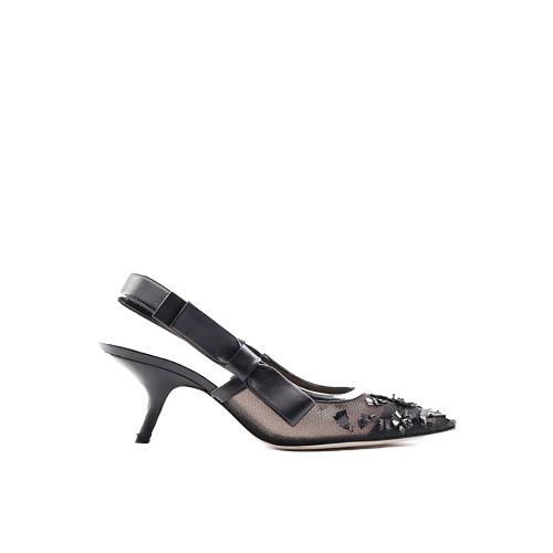Escarpins Dior cuir et toile transparente détail strass noir côté
