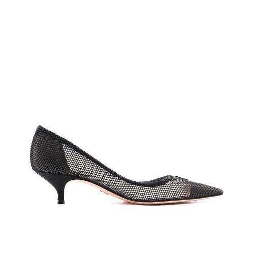 Escarpins Dior toile transparente noir côté