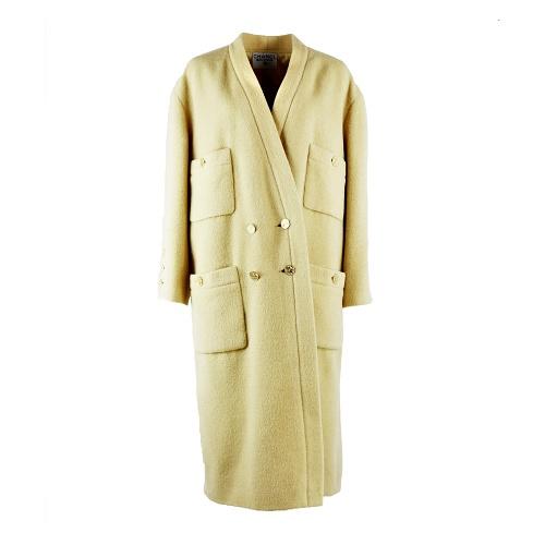 Manteau Chanel jaune laine jaune vintage face