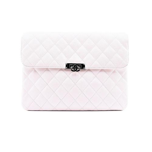 Pochette Chanel cuir caviar blanc fermoir cc face