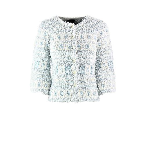 Veste Chanel courte tweed et franges bleu:blanche face