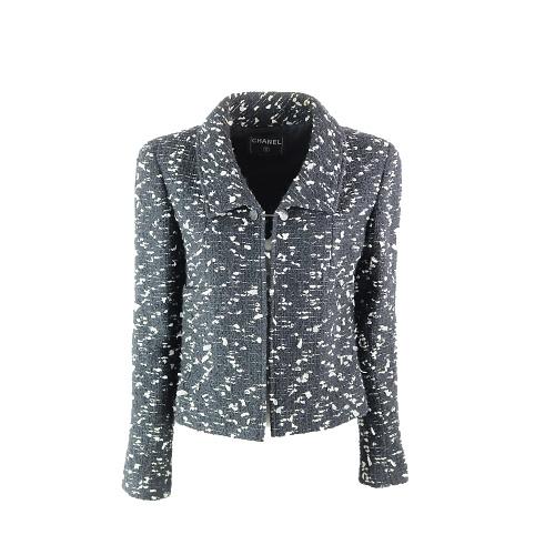 Veste Chanel courte tweed noir et blanc face