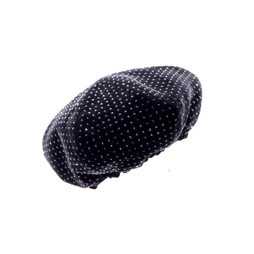 Beret Saint Laurent velours noir détail strass côté