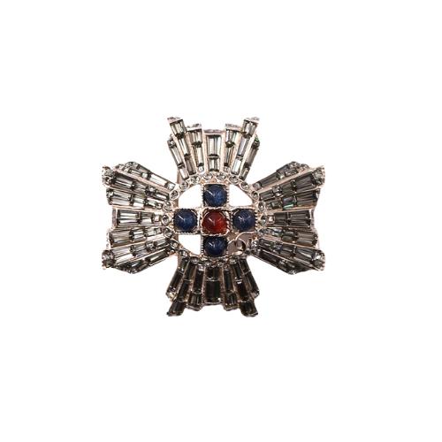 Broche Chanel croix dorée perles marine:bordeau face