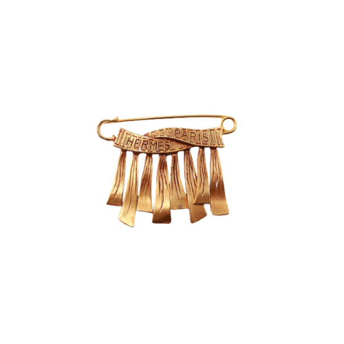 Broche Hermes métallerie dorée face