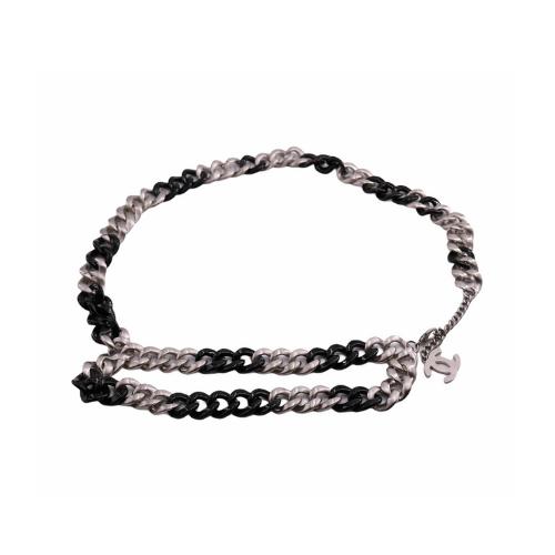 Ceinture Chanel métallerie noir et argent face