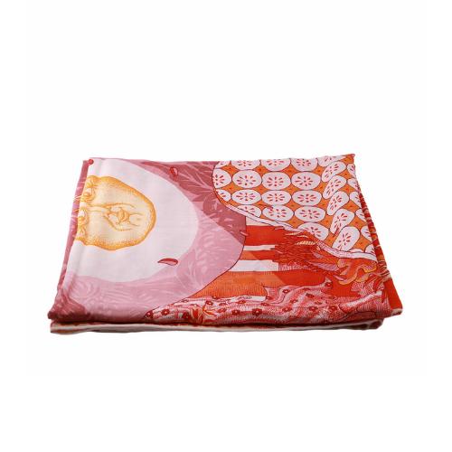 Foulard Hermes imprimés orange:rouge:blanc face
